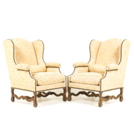 Pair French Wingback Armchairs FB 1196B