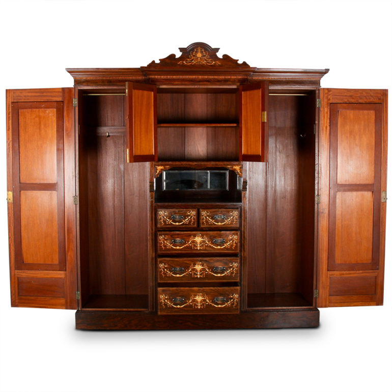 English Inlaid Rosewood Combination Armoire C- RF