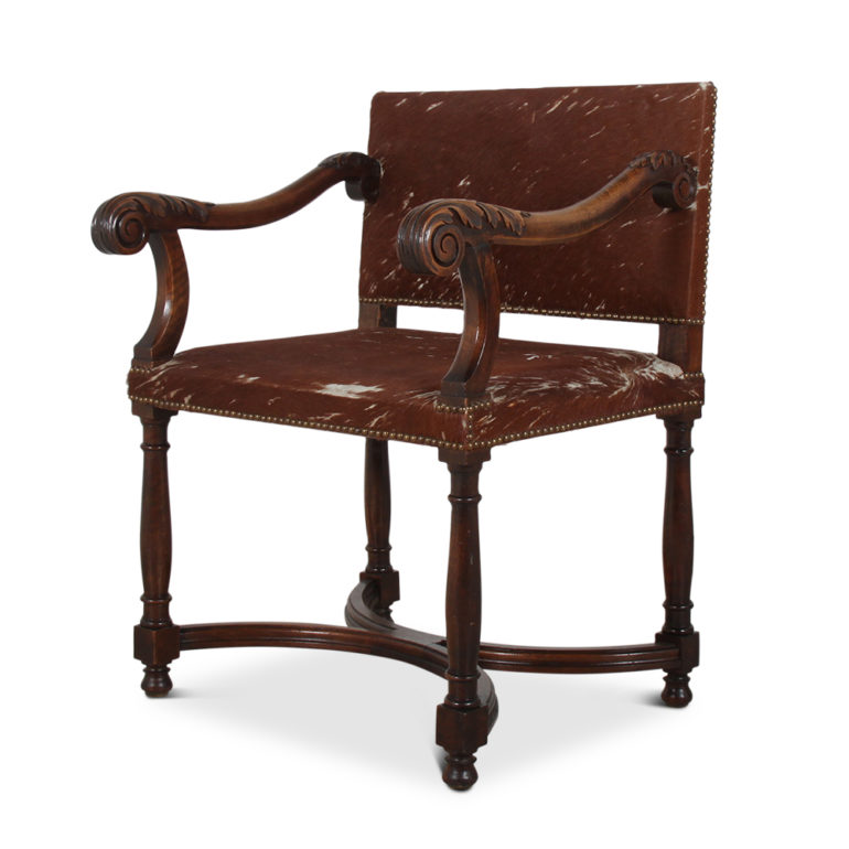 Carved Walnut Cowhide Armchair Ff 1534b Antique Warehouse